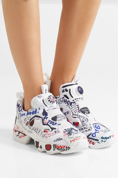 VETEMENTS + Reebok Instapump Fury Printed Neoprene And Canvas Sneakers