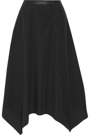 Asymmetric cotton-poplin midi skirt