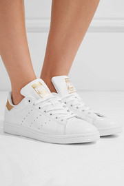 Stan Smith metallic-trimmed leather sneakers