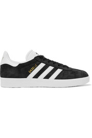 adidas Originals Gazelle faded suede and textured-leather sneakers