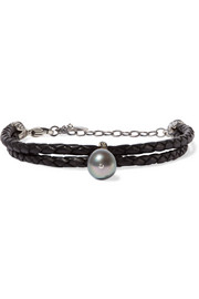 Chan Luu Braided leather, silver, pearl and crystal bracelet