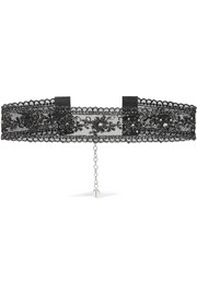 Crystal-embellished metallic lace choker