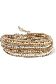 Gold-plated Swarovski crystal wrap bracelet