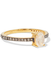 Chan Luu Gold-plated, moonstone and diamond ring