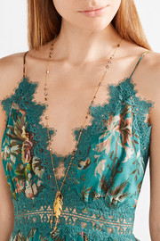 Chan Luu Gold-tone Swarovski crystal and quartz necklace