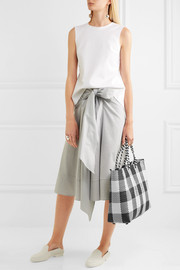 Plaid large woven raffia-effect tote