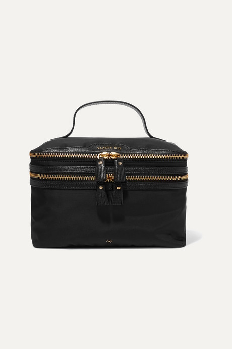 Black Vanity Kit leather-trimmed cosmetics case | Anya Hindmarch bdSlNe