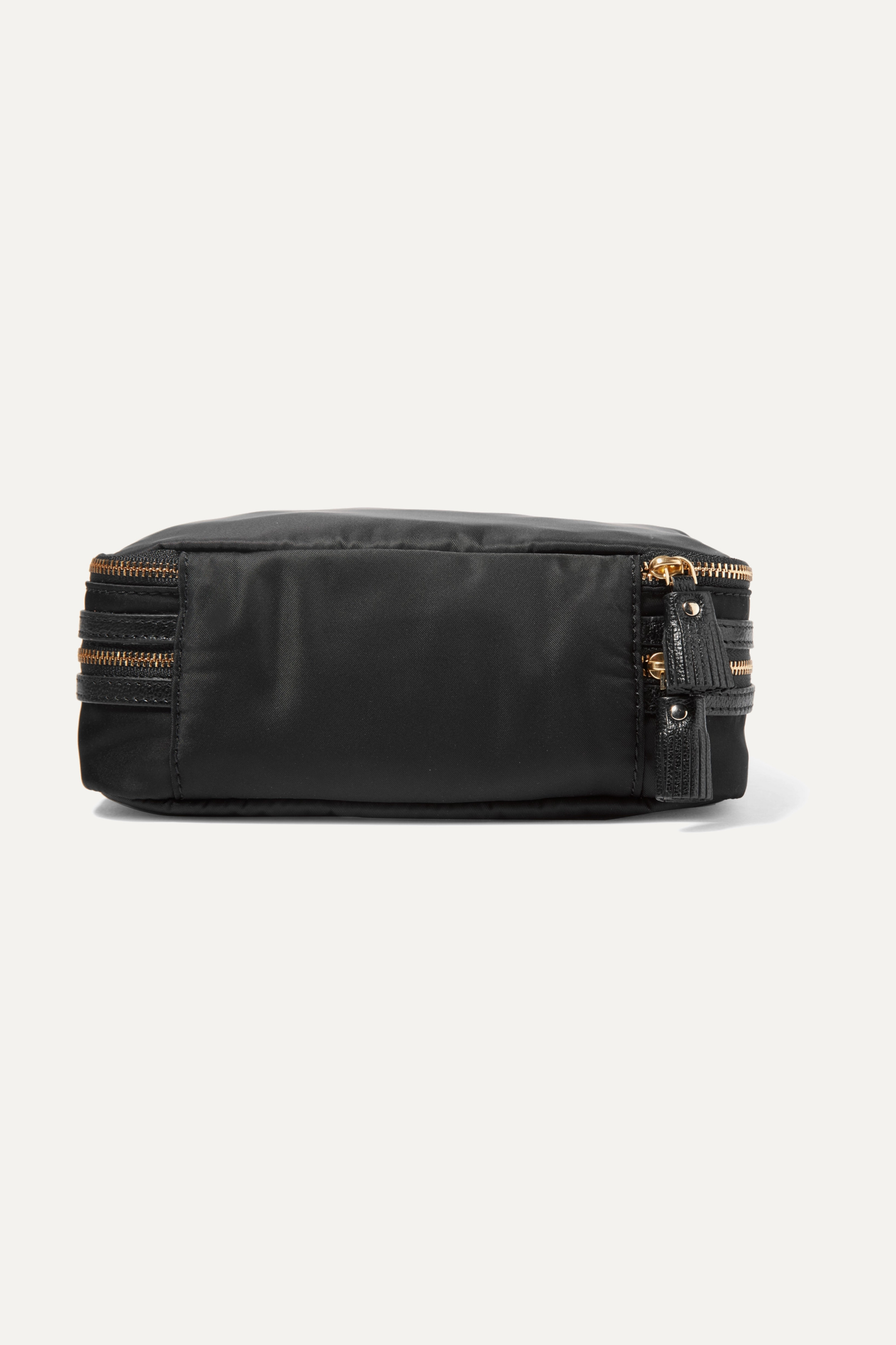 Anya Hindmarch Textured leather-trimmed shell jewelry case
