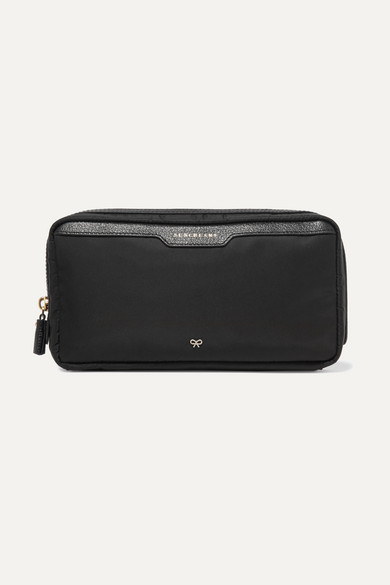 Suncreams Leather-Trimmed Shell Cosmetics Case in Black