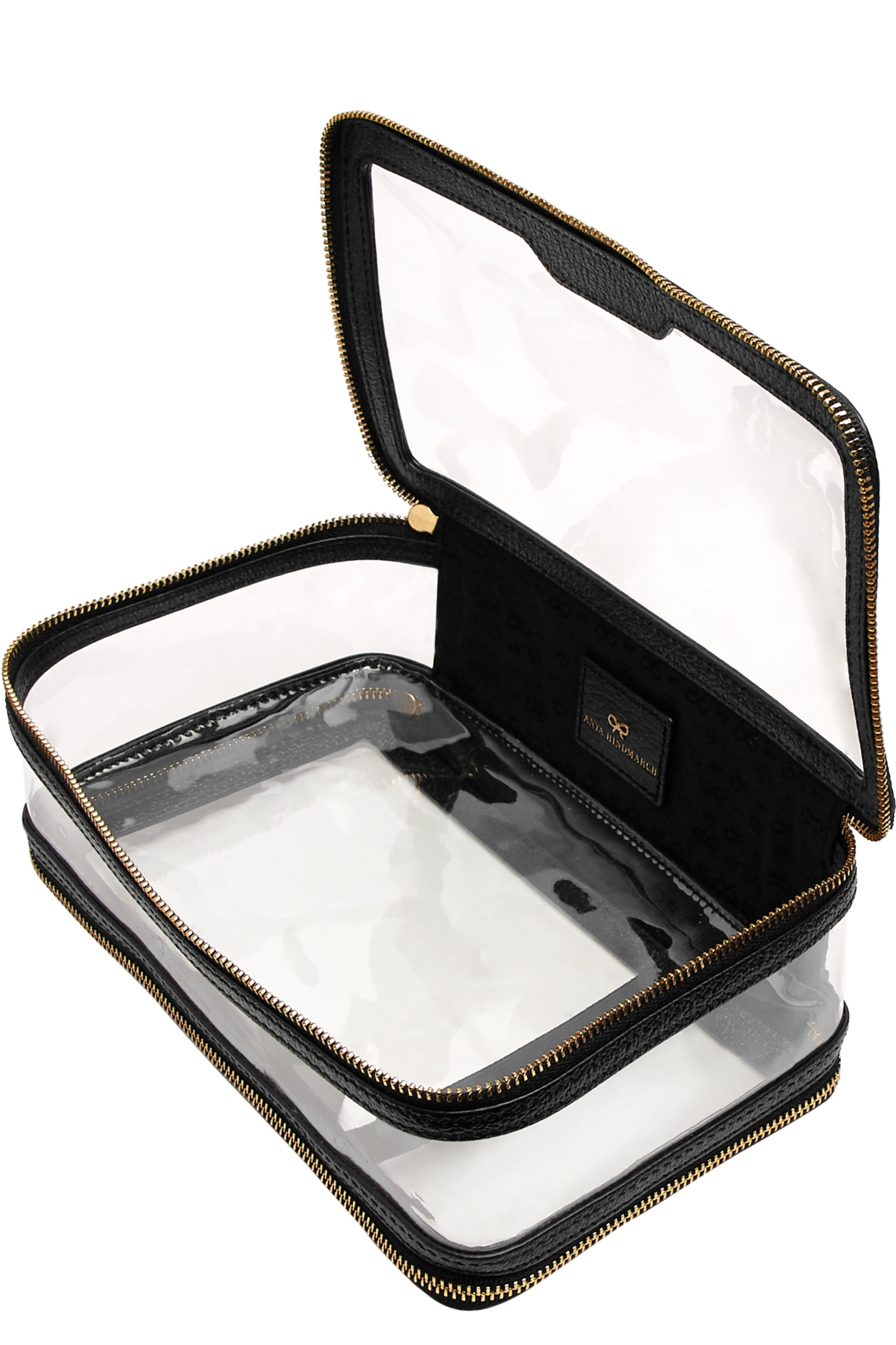 Anya Hindmarch Inflight leather-trimmed Perspex cosmetics case