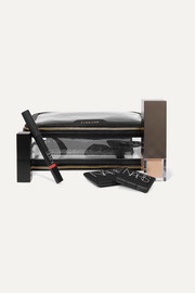 Inflight leather-trimmed Perspex cosmetics case