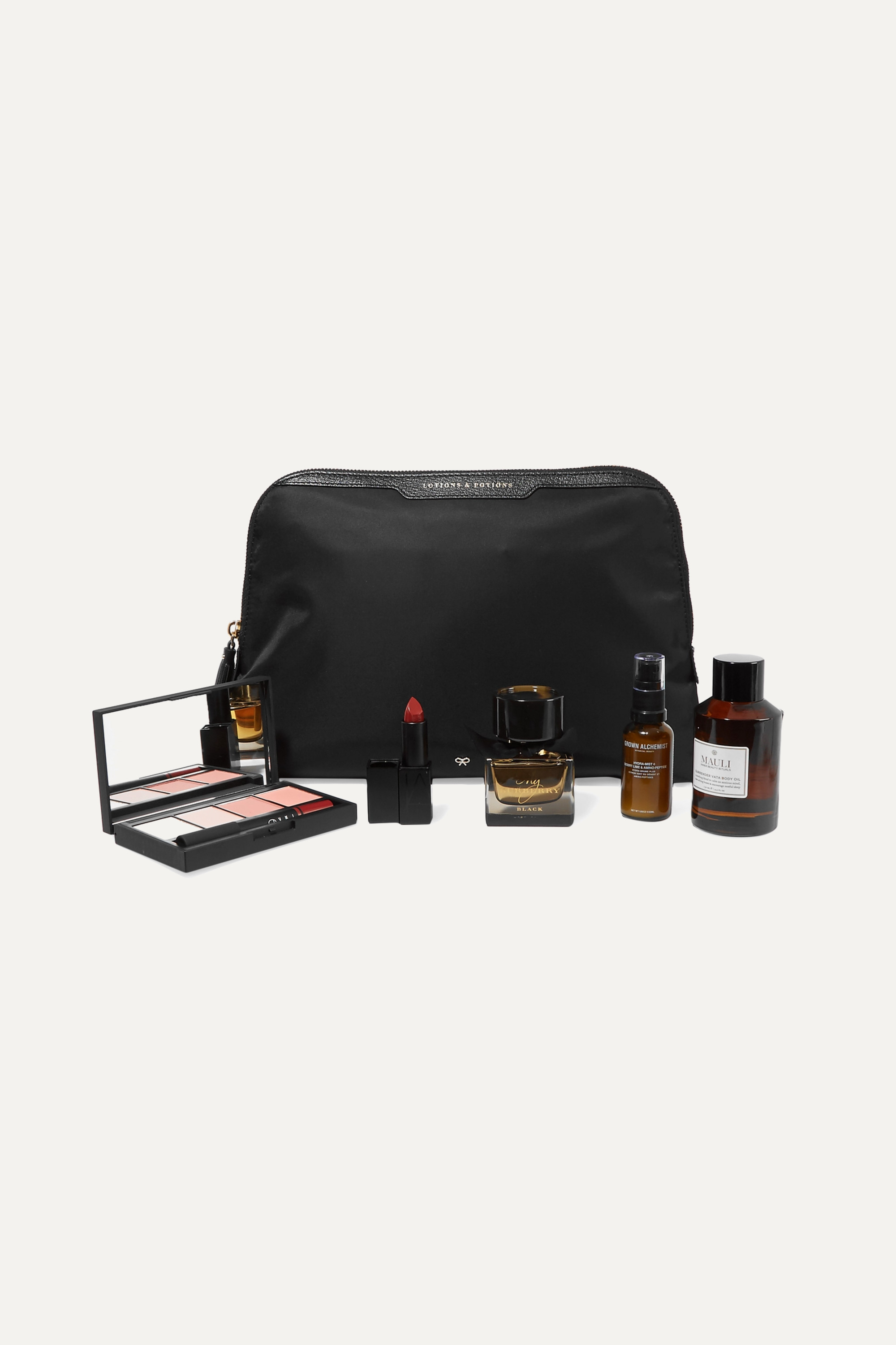 Anya Hindmarch Lotions and Potions leather-trimmed shell cosmetics case