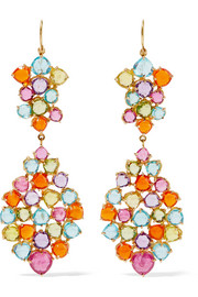 Heart Mosaic 22-karat gold multi-stone earrings