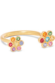 Tiny Marguerite 22-karat gold multi-stone ring