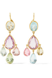 Marie-Hélène de Taillac Gabrielle d'Estree 22-karat gold multi-stone earrings