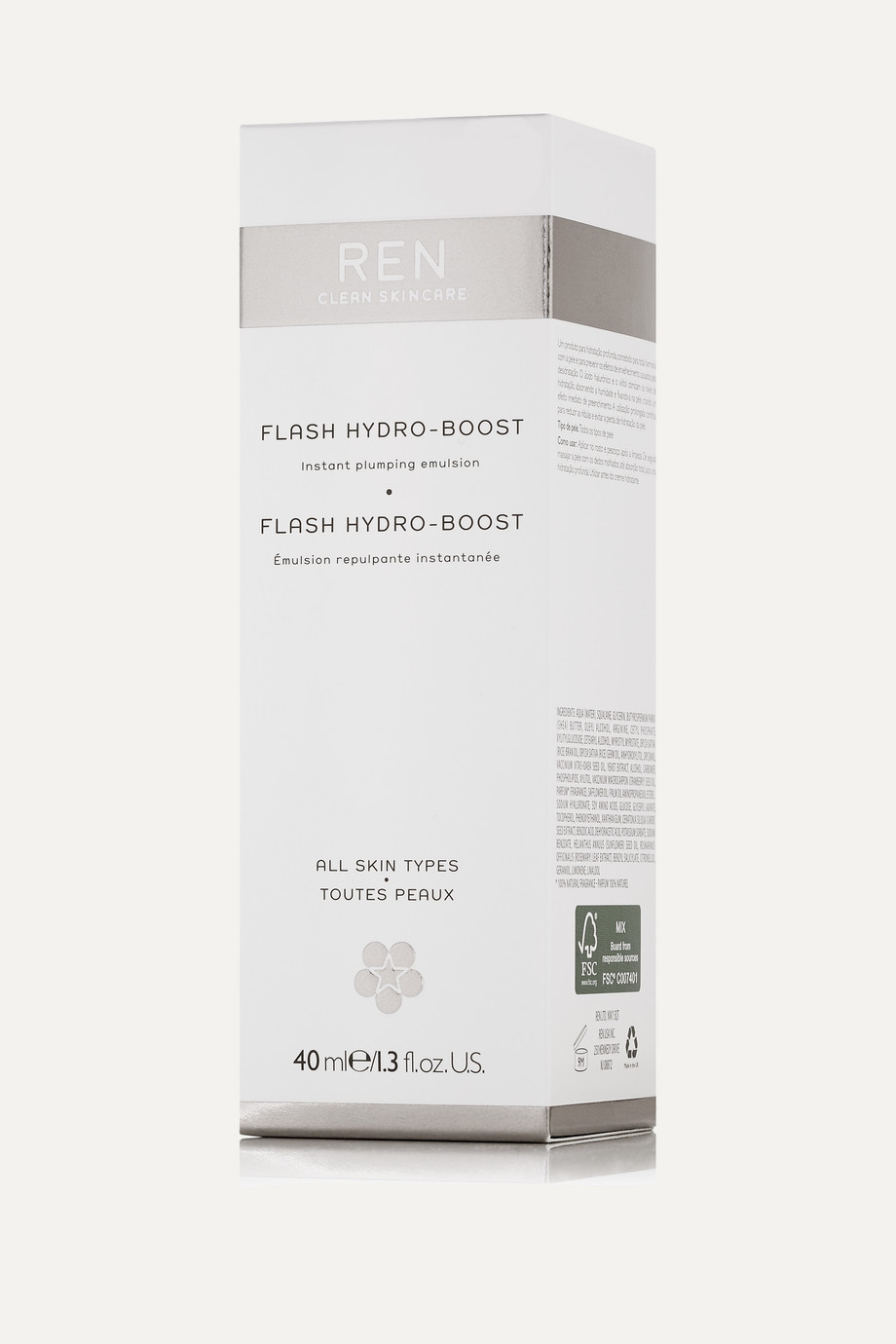 REN Clean Skincare Flash Hydro-Boost Instant Plumping Emulsion, 40ml