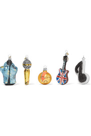 Little Rockstar set of five glass baubles