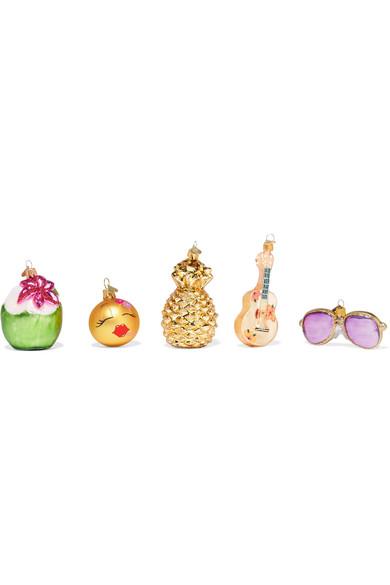 Bombki - Little Getaway Set Of Five Glass Baubles - Neutral