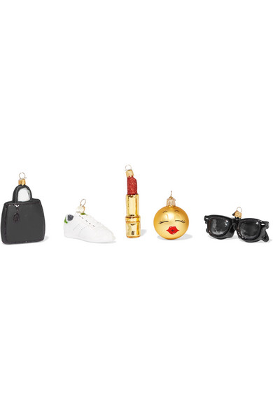 Little Fashionista Set Of Five Glass Baubles - Gold Bombki oq6hlc