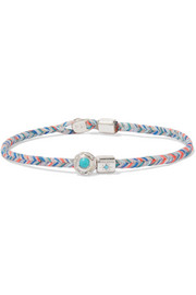 Woven, silver, turquoise and diamond bracelet
