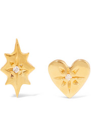 Nova and Classic Heart gold-plated diamond earrings