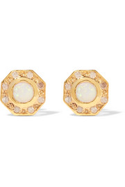 Wonderland gold-plated, opal and diamond earrings