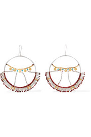Wonderland silver, gold-plated and turquoise hoop earrings