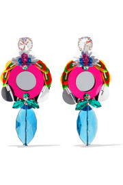 Plexiglas and crystal clip earrings