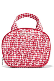 Leather-trimmed gingham matelassé cotton cosmetics case