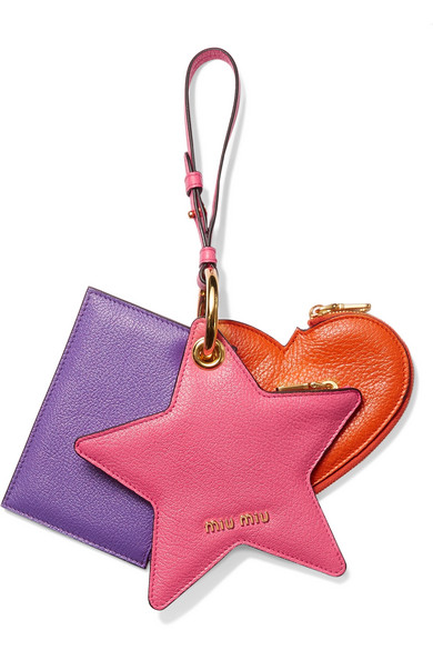 Miu Miu - Set Of Three Textured-leather Coin Purses - Fuchsia