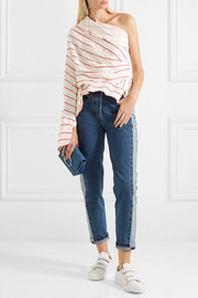 Twisted one-shoulder striped jacquard top