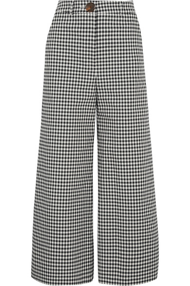 Jellychess gingham woven wide-leg pants