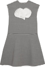 A.W.A.K.E. Jellychess fluted gingham woven top