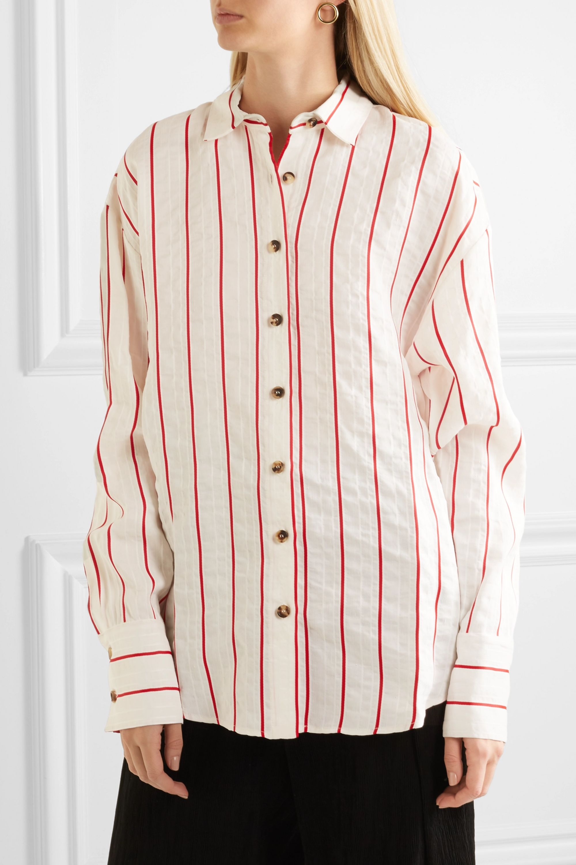 A.W.A.K.E. MODE Oversized striped jacquard shirt