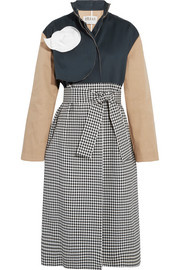 Paneled gingham twill and cotton trench coat