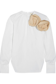A.W.A.K.E. Embellished cotton-blend poplin blouse