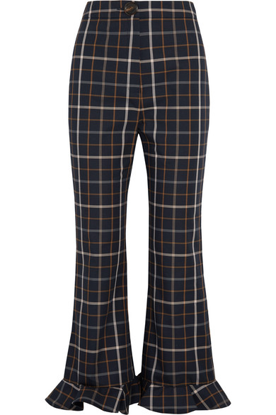 Jellycheck ruffled cotton-blend twill flared pants