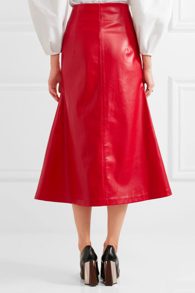 A.W.A.K.E. | Faux leather midi skirt | NET-A-PORTER.COM