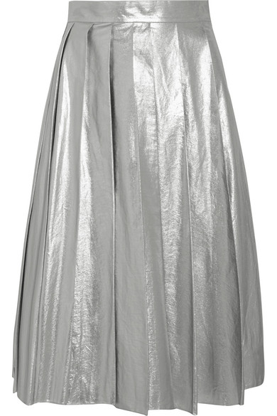 A.W.A.K.E. - Pleated Metallic Cotton Midi Skirt - Silver