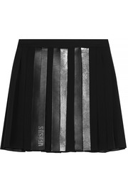 Faux leather-trimmed embellished pleated chiffon mini skirt