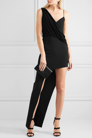 Asymmetric jersey-trimmed stretch-crepe gown