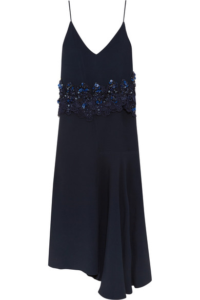 Biyan - Ananda Asymmetric Embellished Guipure Lace-trimmed Crepe Dress - Navy