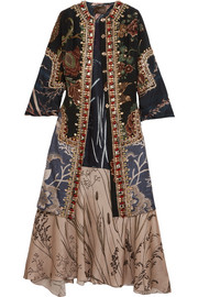 Raakelstones paneled embellished washed-silk and satin coat