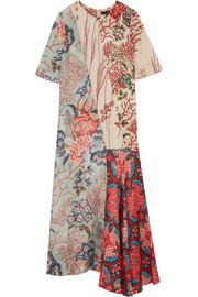 Anahita asymmetric printed silk crepe de chine dress