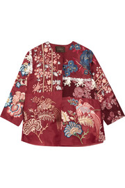 Koral brocade-paneled embroidered silk-blend organza jacket