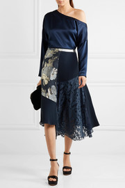 Marine asymmetric paneled brocade, lace and crepe midi skirt