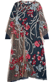 Arachne embellished embroidered tulle tunic
