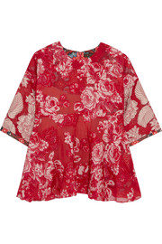 Scarlet jacquard and printed crepe top