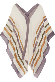 Striped cotton and cashmere-blend gauze poncho
