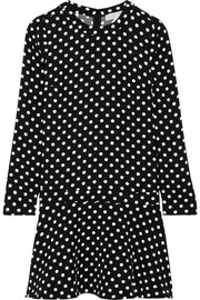 Evelyn polka-dot jersey mini dress